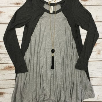 2-Tone Baseball Tunic: Grey
