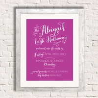 Baby Birth Announcement Art Print - Newborn Stats Statistics Girl Nursery Art Personalized Gift
