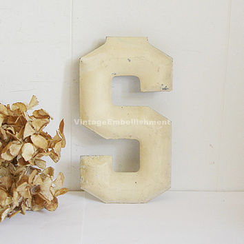 Antique Marquee Letter S Vintage Letter Metal Industrial Salvage Sign