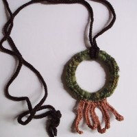 Upcycled Fringed Hoop Pendant Necklace in Green & Taupe by OneSClark