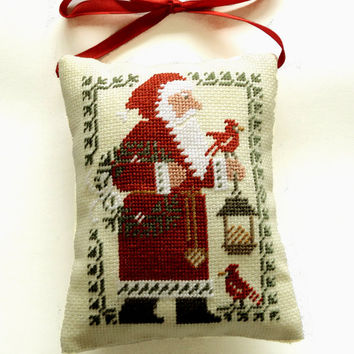 Primitive ornament pillow, Christmas tree decor, christmas gift present, Santa Claus, Completed cross stitch, country decor primitive