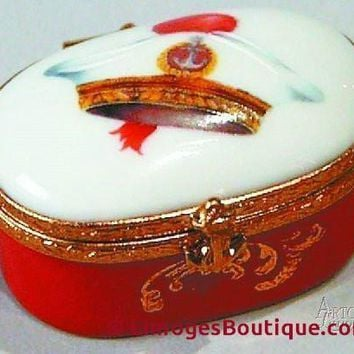 Oval w/ Red Sailor Cap Decal Limoges Boxes
