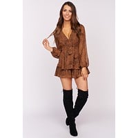Tell Me Everything Leopard Print Romper (Camel)