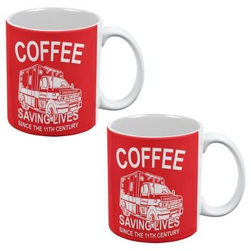PEAPGQ9 Coffee Ambulance Saving Lives All Over Coffee Mug Set of 2