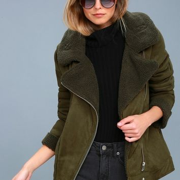 Dallas Olive Green Sherpa Coat
