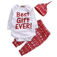 Red Color Baby Christmas Clothes Sets Newborn Baby Boy Girls First Gift Autumn Winter Clothing Wear 3PCS Boutique Outfits