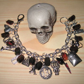 Halloween Charm Bracelet Unlucky 13 Thirteen Glass Beads Jewelry Evil Horror Dead Death Goth OOAK Eclectic Statement Piece