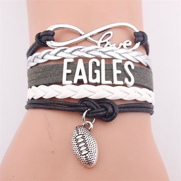 Infinity Love Philadelphia State Eagles Football Team Weave Bracelet Black Customized Wristband Friendship Bracelets Dropship