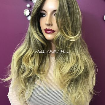 Blond lace front wig| Skin top parting | Strawberry blonde balayage| #11837 Beautiful Goddess