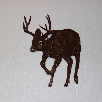 Buck Deer Walking Metal Wall Art Country Rustic Home Decor
