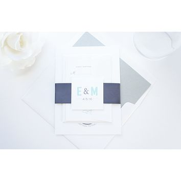 Mint and Charcoal Wedding Invitation - SAMPLE SET