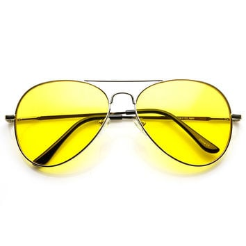 Classic Metal Frame Yellow Tinted Night Driving Aviator Sunglasses
