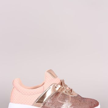 Mixed Media Sequins Slip-On Lace-Up Sneaker
