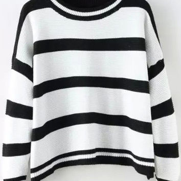 White Striped Knitted Sweater