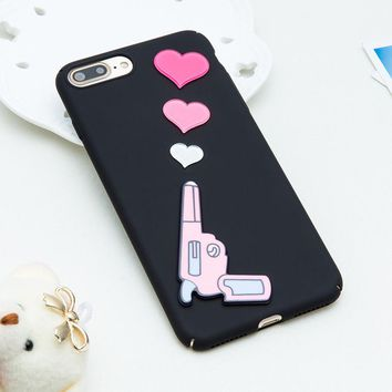 3D Heart Gun iPhone Case iPhone 7+,7,6s,6