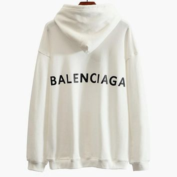 Balenciaga Stylish Print Long Sleeve Sweatshirt Hoodies Top White