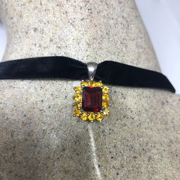 Nemesis Vintage Handmade 925 Sterling Silver Genuine Garnet and Citrine Antique Pendant Necklace