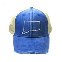 Connecticut Trucker Hat - Distressed Snapback - State Outline