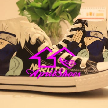 Amazing Naruto Converse Sneakers, Custom All Star Naruto Themed for Kakashi Hatake Fans, Cool Shoes as Birthday Gift for Men and Women