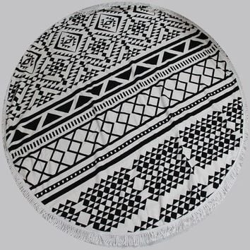 DCCKJG2 Round Towel Scarve Fashion Mandala Tapestry Beach Picnic Throw with lace Rug Blanket Polyester Cotton Beach Towel