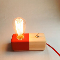 Handmade Wood Lamp, desk lamp, table lamp, industrial lamp, wall lamp, phone charger, with usb