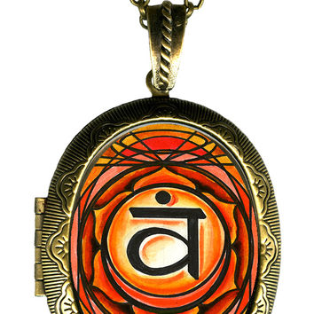 2nd Chakra Svadisthana Vitality Big Locket Pendant Empty or Solid Perfume