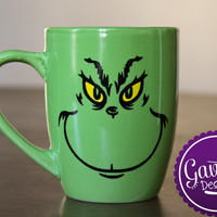 Inspired by The Grinch - Grinch Face - Coffee Mug - Christmas - How the Grinch stole Christmas - Green