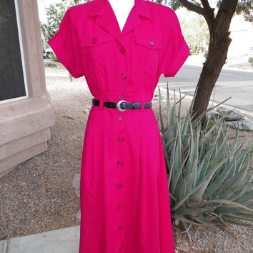 Vintage Button Up Dress. Hot Pink. 80's.  Size 10. Size M / L. Pockets. Outback Style. Short Sleeve. Collared Dress