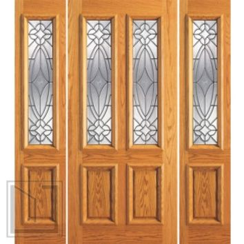 Prehung Mahogany Twin Lite Entry Two Sidelites Door, Glasswork