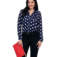 Navy Blue & White Polka Dot Long Sleeve Button Up Blouse