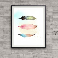 Feathers art print, feather watercolor print, home wall decor, nursery decor, colourful print, soft colours, girl's room, gift, native