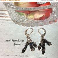 SALE Black and Silver Windchime Earrings