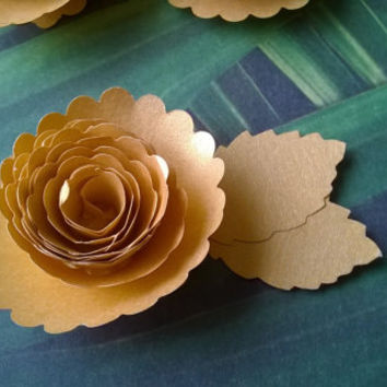 Gold Carnation boutonniere metallic 50th wedding anniversary groomsman pin back groom rolled paper flower lapel brooch bridal party