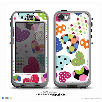 The Colorful Polkadot Hearts Skin for the iPhone 5c nüüd LifeProof Case