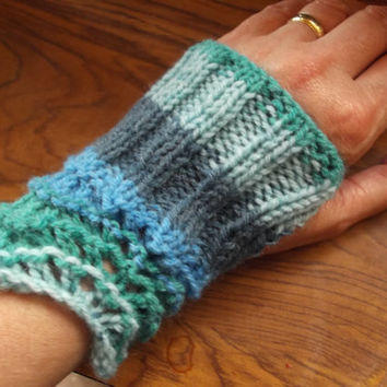Blue/Green Mitts - a modern version of Victorian mitts - lace and rib - one size