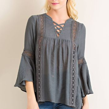 Criss Cross Peasant Top - Charcoal