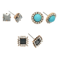 Set of three gold tone post earrings with turquoise stone, black diamond stone, and gray rhinestone