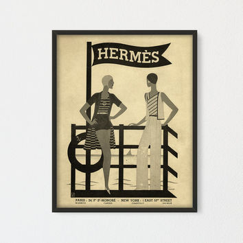 Vintage Hermes Poster Printable, Women Beach Fashion Art, Hermes Paris, Antique Travel Poster, French Fashion Wall Decor, Fashion gift