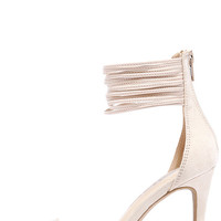 Adore Me Natural Suede Ankle Strap Heels