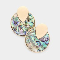 Abalone Accented Round Earrings