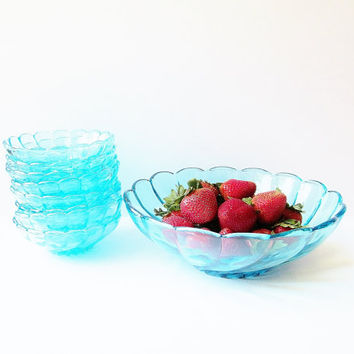 Glass Berry Bowl Set - Hazel Atlas Capri Blue - Colony Swirl Fruit Bowls - Vintage Salad Bowl Set - Centerpiece Serving Bowl Dessert Bowls