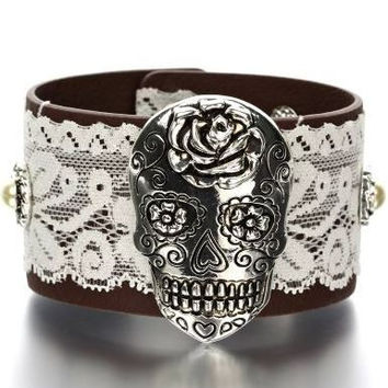 Sugar Skull Leather & Lace