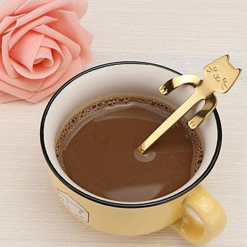 4 Colors Available Stainless Steel Cat Coffee Spoon