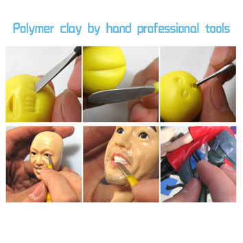 6Pcs Set Fimo Polymer Clay Tools by Hand DIY Sculpture Toys Professional Oven-baked Clay Steel Carving Plasticine Tool