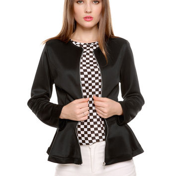 Long Sleeve Peplum Zipper Jacket