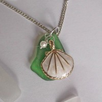 Green Sea glass Necklace with Enamel White Shell
