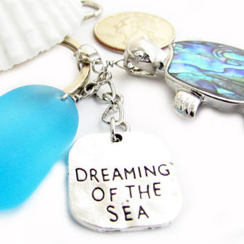 Sea Turtle Keychain, Sea Glass Keychain, Beach Glass Keychain, Beach Keychain, Car Accessories, Abalone Shell Turtle, KY24