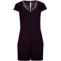 Embellished playsuit - Purple | Rompers & Jumpsuits | Ted Baker