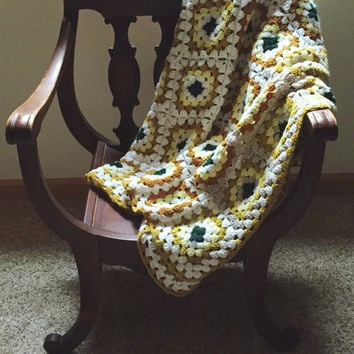 Vintage, Granny Square, Afghan, White, Green, Brown, Throw Blanket, Shabby Chic