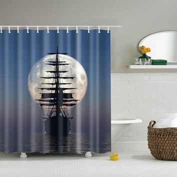 New Colorful Eco-friendly Sailing Ships Ship's Anchor Polyester High Quality Washable Bath Decor Shower Curtains